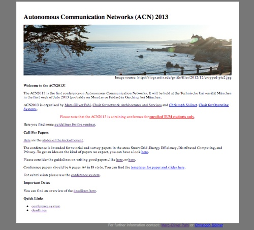 The landing page of the Autonomous Networks Conference 2013 - a training conference for master students at the Technische Universität München.